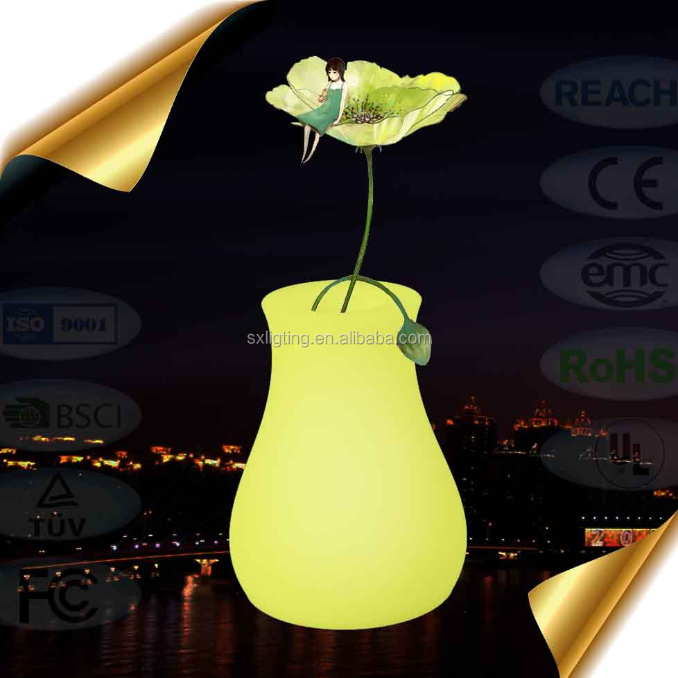 SX-<strong>1015</strong>-FP LED bonsai pot light up led flower pot decoration indoor colorful plastic led light flowerpots
