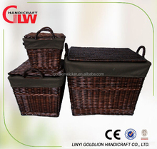 Set of 3 rectangular willow wicker laundry basket with lid and handle