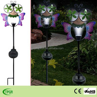 Garden decoration metal butterfly bee ladybug windmill solar stake light