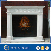 Hand carved white marble fireplace surround mantel