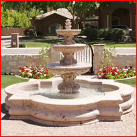 European free standing tiered stone fountain with quatrefoil basin 3 tiers travertine water fountains