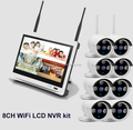 New arrival 8ch Outdoor Day night security camera system 720P Real WiFi LCD NVR kit with 12.5 inch LCD Screen