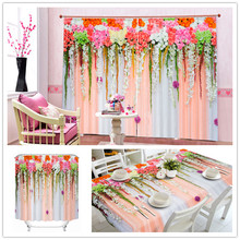 Romantic Elegant African Print Chiffon Fabric 3D Flpwer Series Shower Curtain , Tablecloth , Drapes Curtains