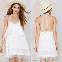 white models summer dress chiffon free pattern halter neck sexy girls dress