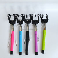 Wired Extendable Monopod, Selfie Stick Monopod Telescopic Remote Phone Holder