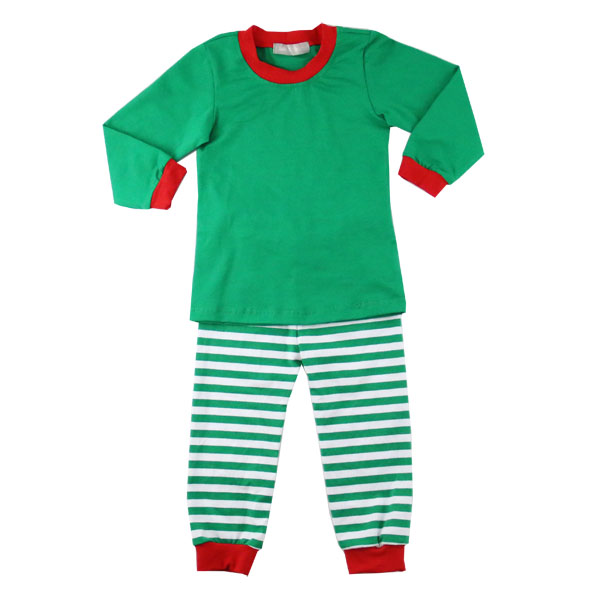Hign quality childrens pajamas wholesale christmas red&green pajamas baby winter cotton clothes