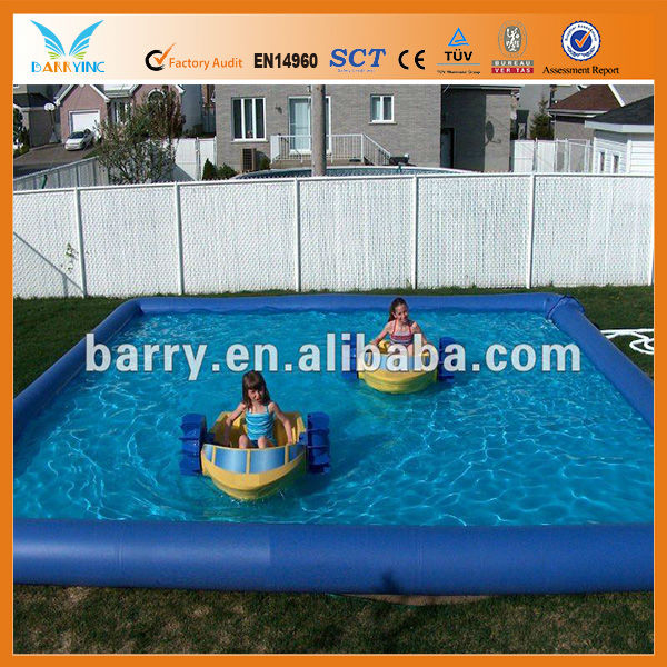 Custom Large PVC Plastic inflatable swimming pool for kids water games, with pool floats like water ball and riders