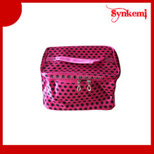 Satin material cosmetic bag with mirror