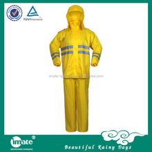 Special design waterproof hooded yellow rainwear