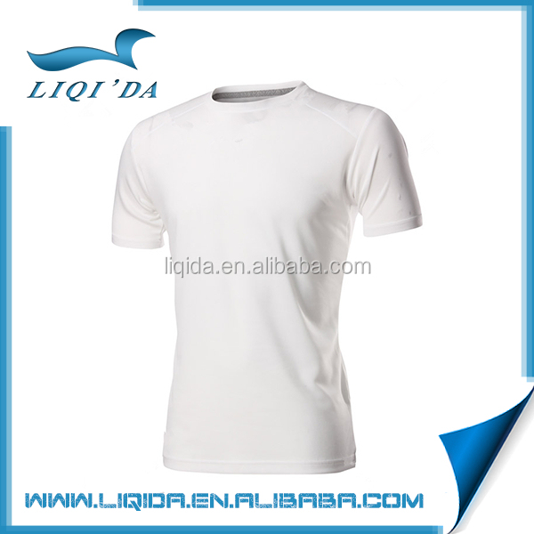 Top custom breathable cotton polyester crew neck white man t-shirt