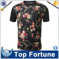 Hot sale economic unisex 2014 hotsale pink flower printed t-shirt manufacturers in usa