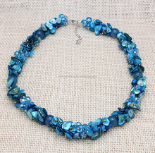 High end blue natural shell beaded necklaces handmade see shell beaded necklaces women shell beades necklaces with lobster clasp