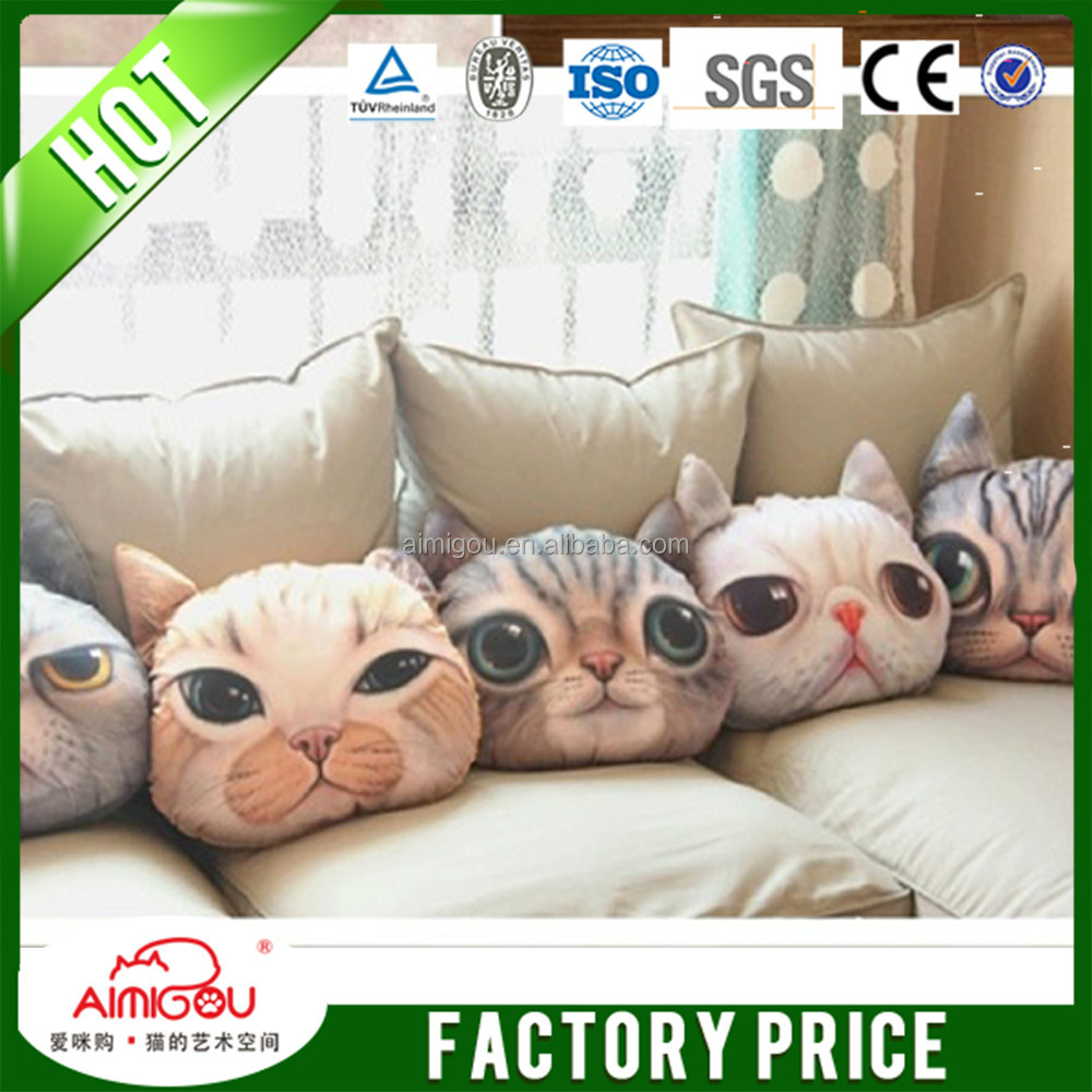 christmas funny plush eco memory foam filling cat pillow 3d