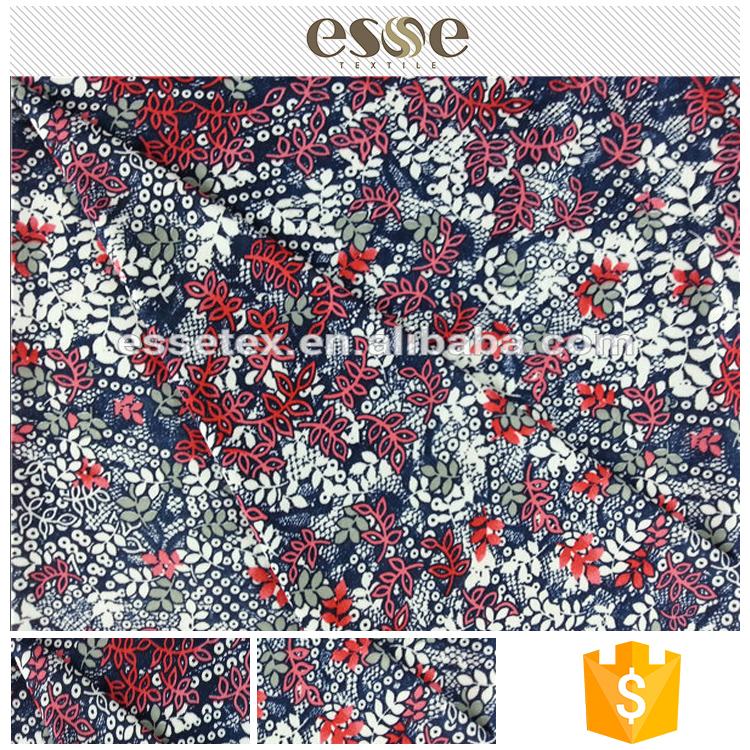 Colored pattern best quality design fashion women garment cheap weed printed fabric