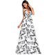 Fashion Sexy Beach Hot Night Lady Maxi Print Flower Girl Dress Party Long Dress White Club Boho Women Dress