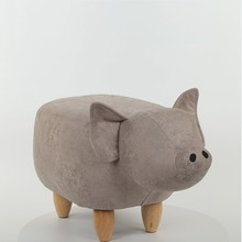 living room <strong>furniture</strong> Ottoman Wood pig animal shape Footstool Children's chair for kid's room