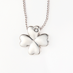 jewelry 925 sterling silver Four Leaf Clover pendant necklace with cz stone