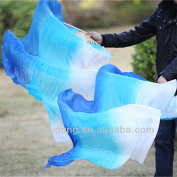 Vertical Colors, BLUE/TURQUOISE/WHITE, Belly Dance 100% Real Silk Fan Veils, 1.8M