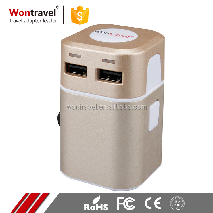 2016 Competitive Price good reputation international universal travel adapter with 2 port usb charger for cell phone