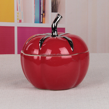 vegetables decor wholesale ceramic pottery tomato shaped jar & container for dry friut