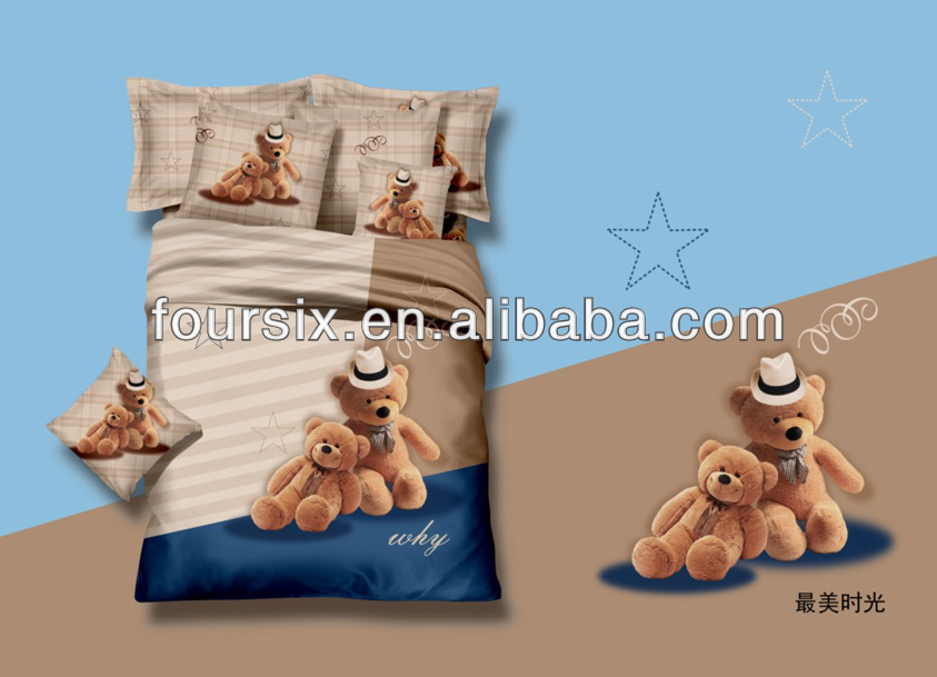 latest 3d new cartoon design 100% cotton comforter wholesale 4pcs bedding set