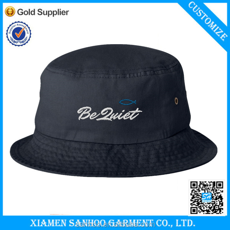 Custom Black High Quality Embroidery Fishing Hat And Cap,100% Cotton Twill Bucket Hat Custom