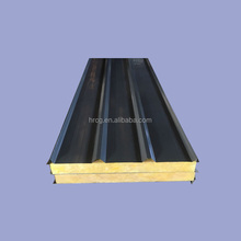 Supplied large industrial building roof colored steel composite rock wool sandwich panel