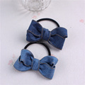 Korea style Girl's Popular Denim bow knot hairdress hair accessories ponytail holder