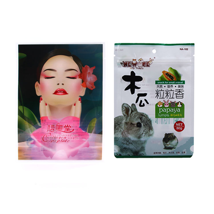 designed custom printed stand up plastic clear ziplock food packaging bag for food