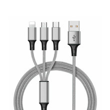 Hengye Multi Head Nylon Braided CE Certified 3in1 Usb Charger Cable For iPhone <strong>X</strong> Android Type C