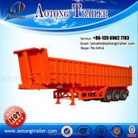 Tri-axle 12 wheel dump trailer truck , 30 ton tipper semi trailer truck , dump trucks 15 ton