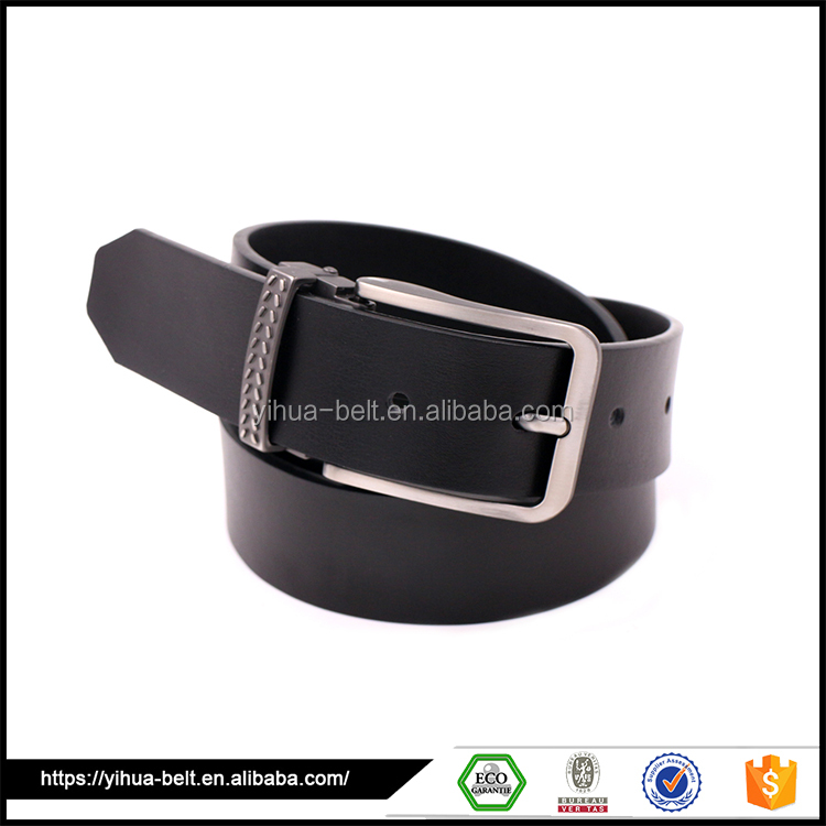 High quality black man leather belt