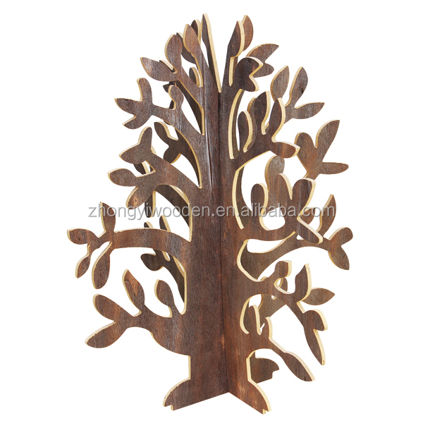 2016 year china factory FSC decorating wooden carved mini christmas tree gift crafts
