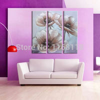 3 piece modern decor art set abstract feverfew flowers hand painted Oil Painting on Canvas for living room
