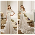 long sleeve high neck lace moroccan wedding dress