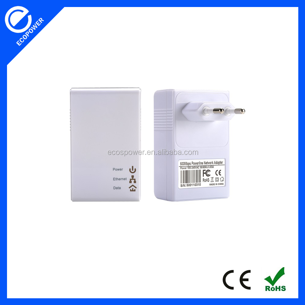 500Mbps Wired Powerline Ethernet Adapter Wallmonunt Homeplug