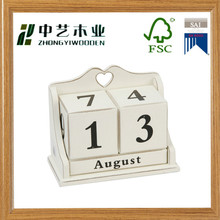 Excellent gift 3 blocks home decor solid pine wooden desktop calendar wooden blocks calendar Desktop Perpetual Calendar
