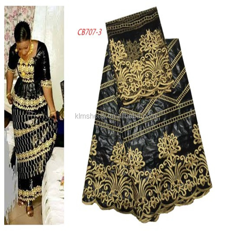 African George Lace Fabric Black Silk George Lace Flower Embroidered Nigerian Style Wedding Bazin Fabric CB707-3