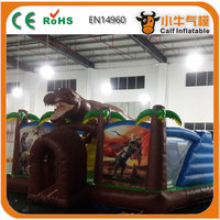 Inflatable jungle bouncy castle,dinosaur inflatable jumping bouncer Calf--0082B
