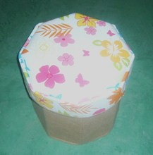 Flower printed canvas foldable Storage ottoman stool