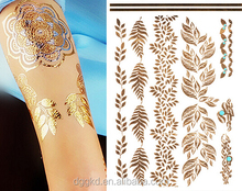 Eco-friendly custom popular metallic gold temporary tattoo/tatoo/tatto