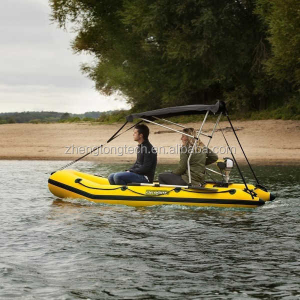 600D PU coating waterproof inflatable boat with bimini top