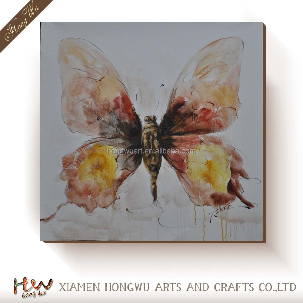 Interior Decoration Wall Hanging Animal Designs Butterfly Canvas Handmade Oil Painting