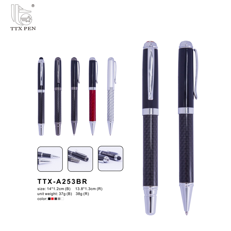 Factory price hot selling famous brands carbon fiber pen types ink Ballpoint Pens
