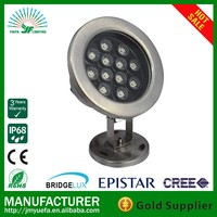 single color led round underwater light stainless steel ip68 rgb remote control underwater led pool light 24v 12w ip68