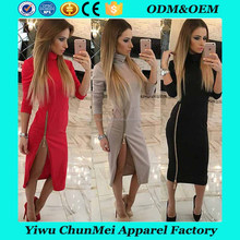 Women's Sexy Turtle Neck Side Zip W closet Pencil Dress