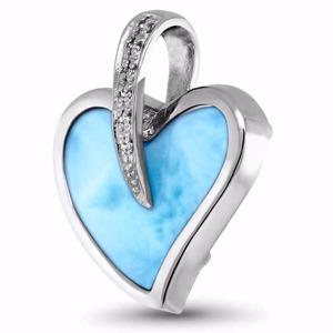 Beautiful!! larimar jewelry charm 925 sterling sliver heart shaped larimar stone fashion pendant for women DR03324125P