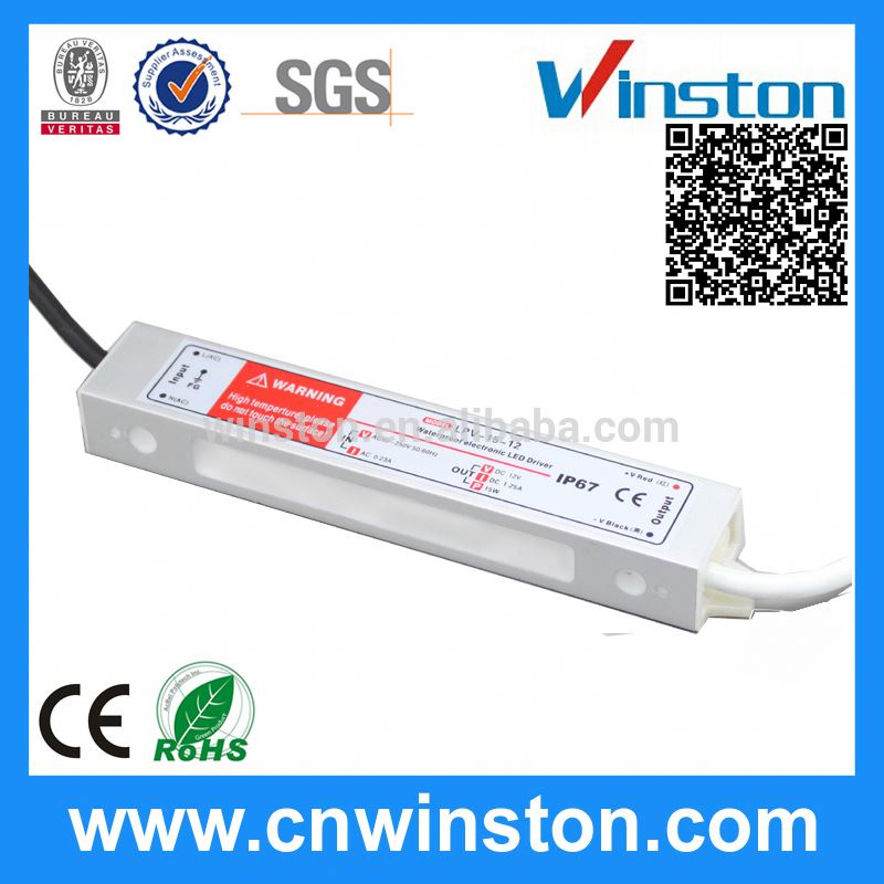 100% Guarantee <strong>15</strong> watt power supply 220V ac/dc 12v 1a <strong>15</strong> waterproof led driver
