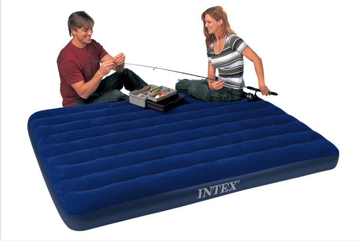 Intex Corduroy Flocked Airbed Inflatable Mattress Air Bed