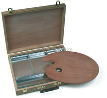 Wooden box with aluminium comparment, 42x33x8.5cm Artist Carrying Case Box